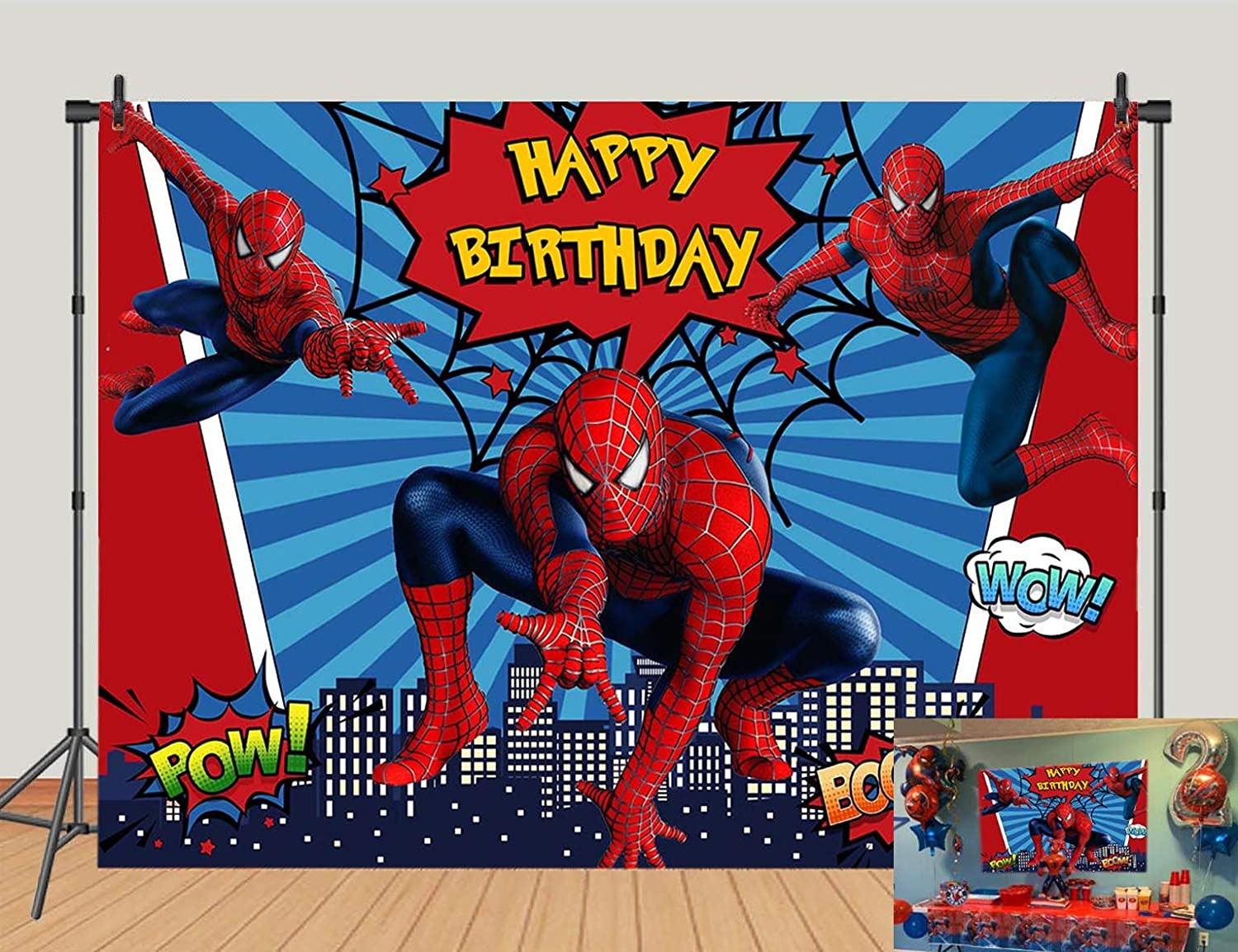 Red Spiderman Photo Backdrops Super City Spiderman Boys Baby Shower Birthday Party Decoration Photography Background Superhero Citycape Kids Studio Booth Props 5x3ft