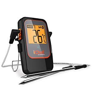 iChef BT-600 Bluetooth Wireless Remote Meat Thermometer, Monitor and Track 4 Probes Simultaneously from 300 Feet Away with Your Phone Or Tablet for Meat, Cooking, Food Grill, BBQ, Smoker and Oven