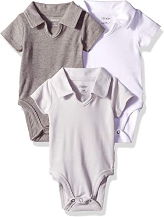 Hanes Girls Ultimate Baby Flexy 3 Pack Short Sleeve Polo Bodysuits
