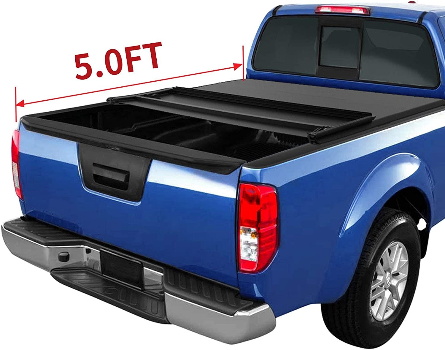Amazon Com Oedro Tri Fold Truck Bed Tonneau Cover Compatible With 2005 2020 Nissan Frontier 5 Feet Bed Fleetside For Models W Or W O Utili Track System Automotive