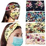 4 Pack Headbands For Women with Buttons, Boho Head Wraps For Face Masks Nurses Yoga Hair Band Sports Headband Holder Bandanna