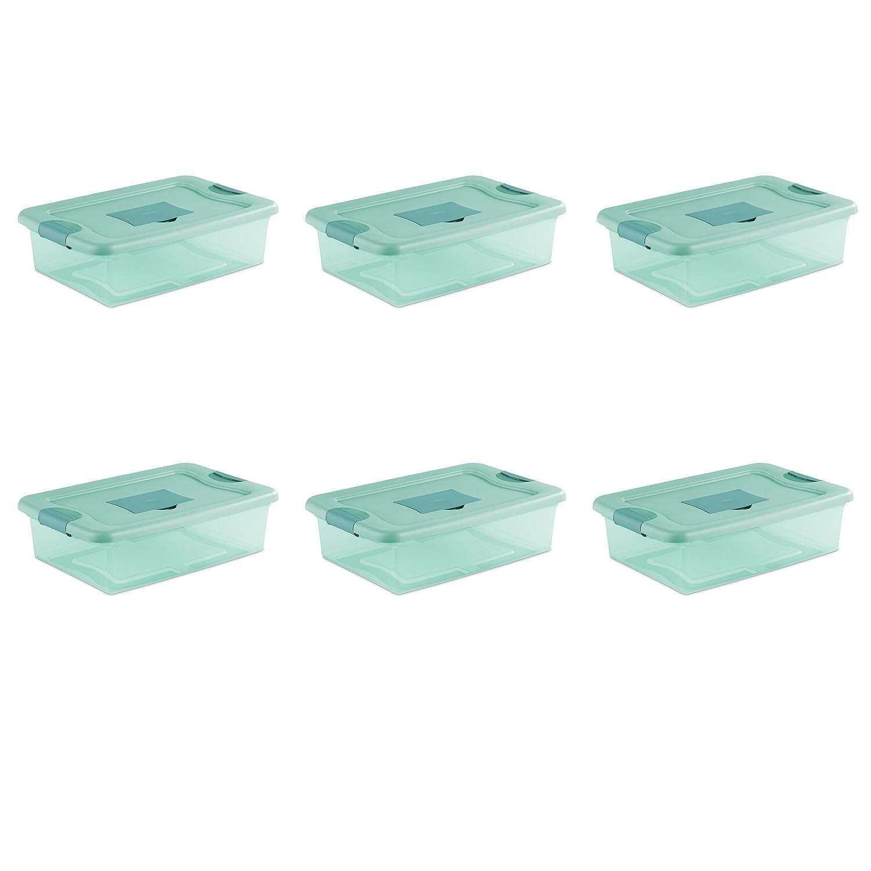 Sterilite 15067Y06 32 Qt, 30L Fresh Scent Box, Aqua Tent base with Aqua Chrome Lid & Teal Splash Latches, 6-Pack