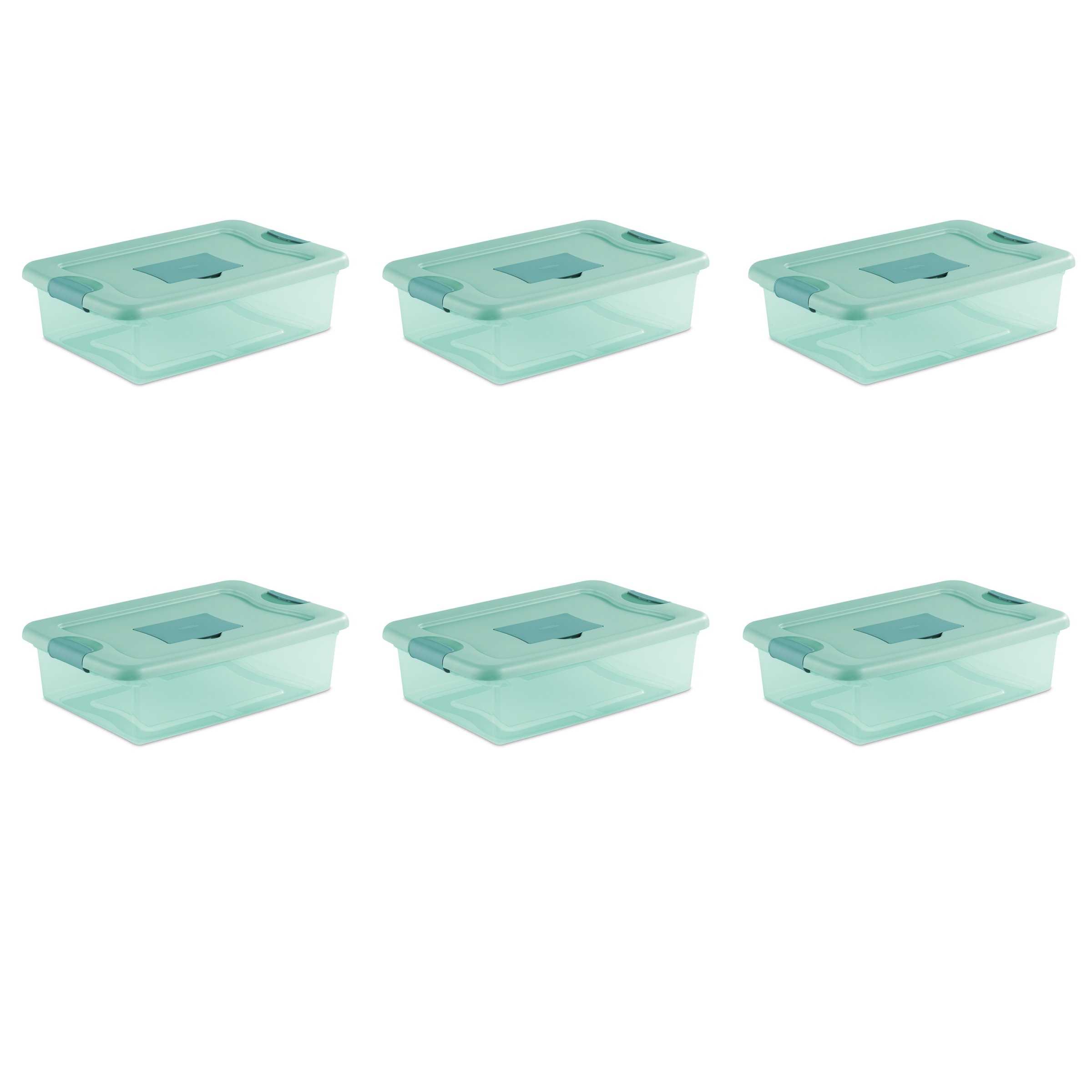 STERILITE 15067Y06 32 Qt, 30L Fresh Scent Box, Aqua Tent Base with Aqua Chrome Lid & Teal Splash Latches, 6-Pack by STERILITE