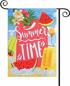 Summer Garden Flag 12×18 Inch Watermelon Summer Time Small Vertical Double Sided Seasonal Outside Décor for Yard Farmhouse