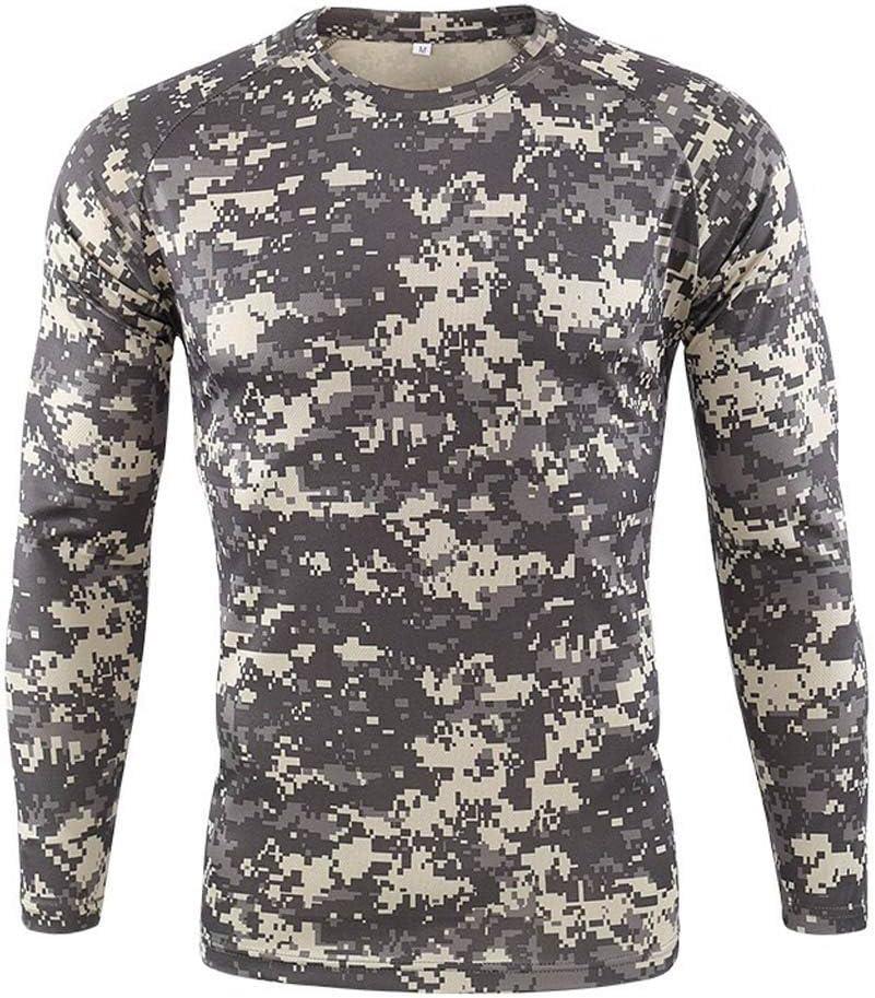 Celucke Herren Funktionsshirt Langarm Kompressionsshirt Camouflage Sportshirts M/änner Laufshirt Atmungsaktiv Schnelltrocknend f/ür Training Radfahren Jogging Wandern