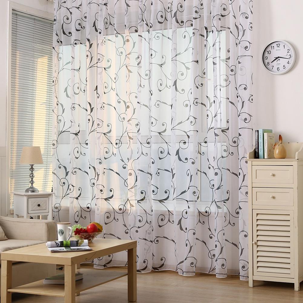 Cortina de gasa floral para ventana de tul cortinas para sal/ón y dormitorio PB PEGGYBUY Cortina de ventana