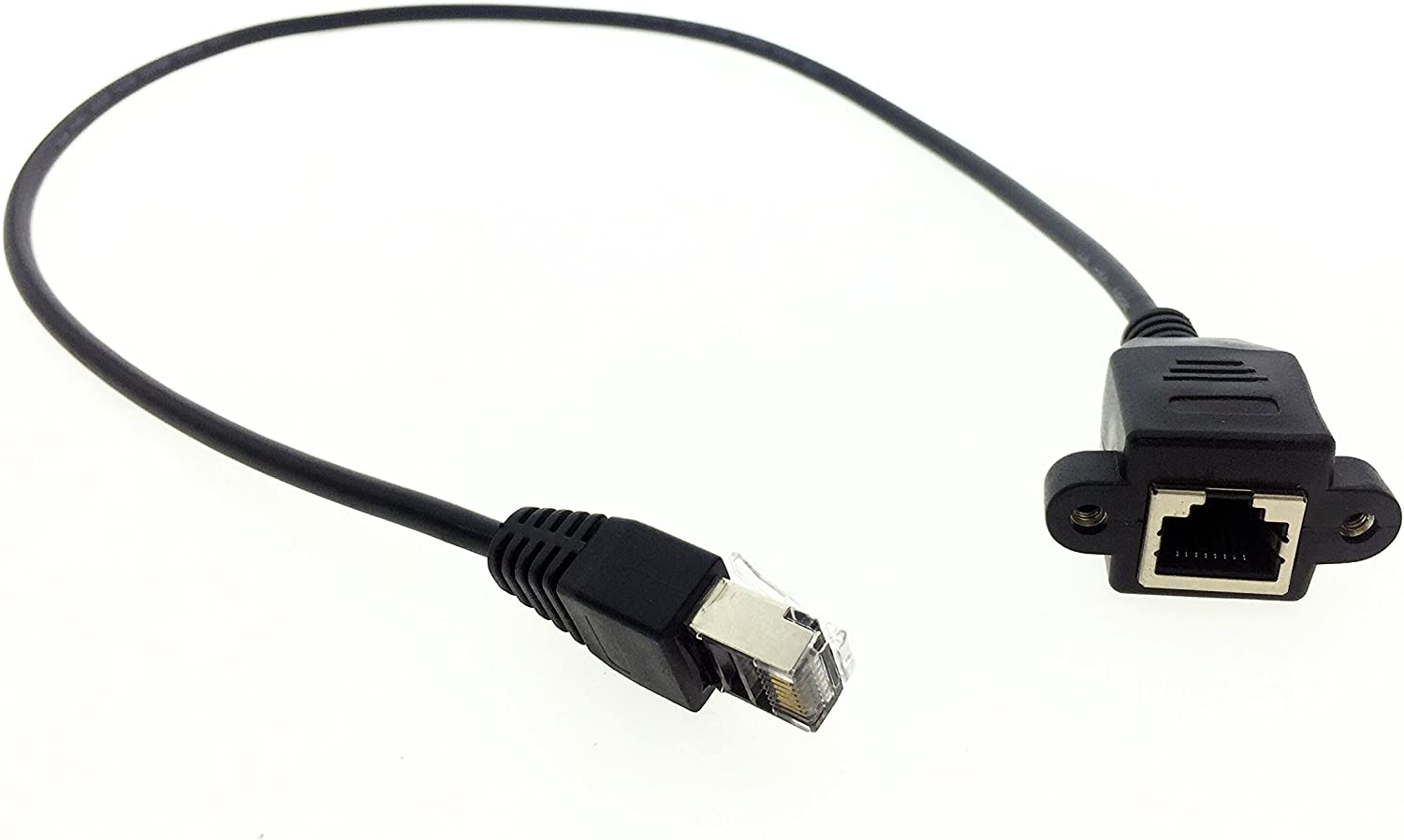 Cable Length: 70cm, Color: Black Connectors Mosunx Factory Price 30CM RJ45 Male to Female Screw Panel Mount Ethernet LAN Network Extension Cable Nov21 ping
