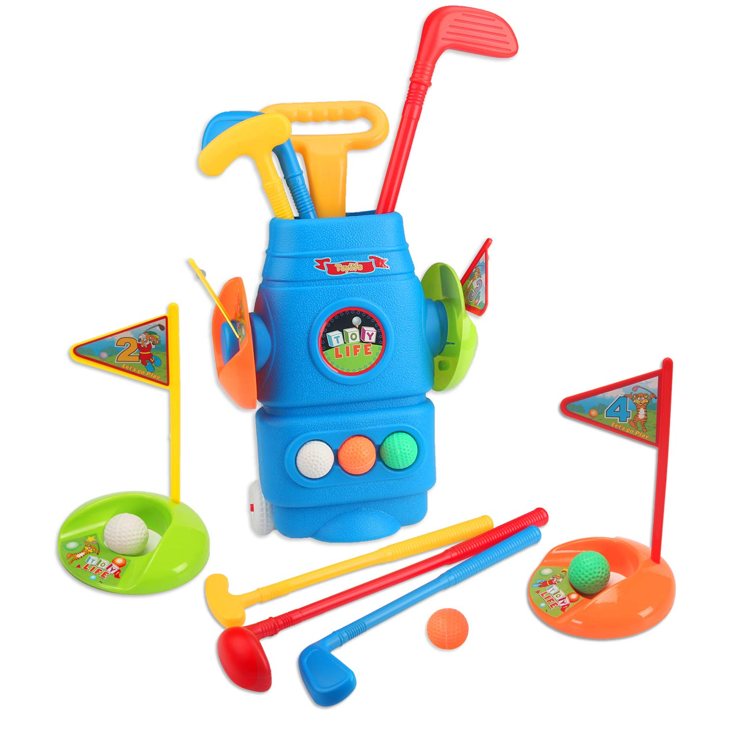 Toy Life Kids Golf Clubs | Todder Golf Set | Sports Toys for Toddlers | Comes with 1 Iron, 1 Wood, 1 Putter, 2 Flags, 2 Cups, & a Rolling Golf Bag for Children Ages 2 3 4 5 6 by Toy Life
