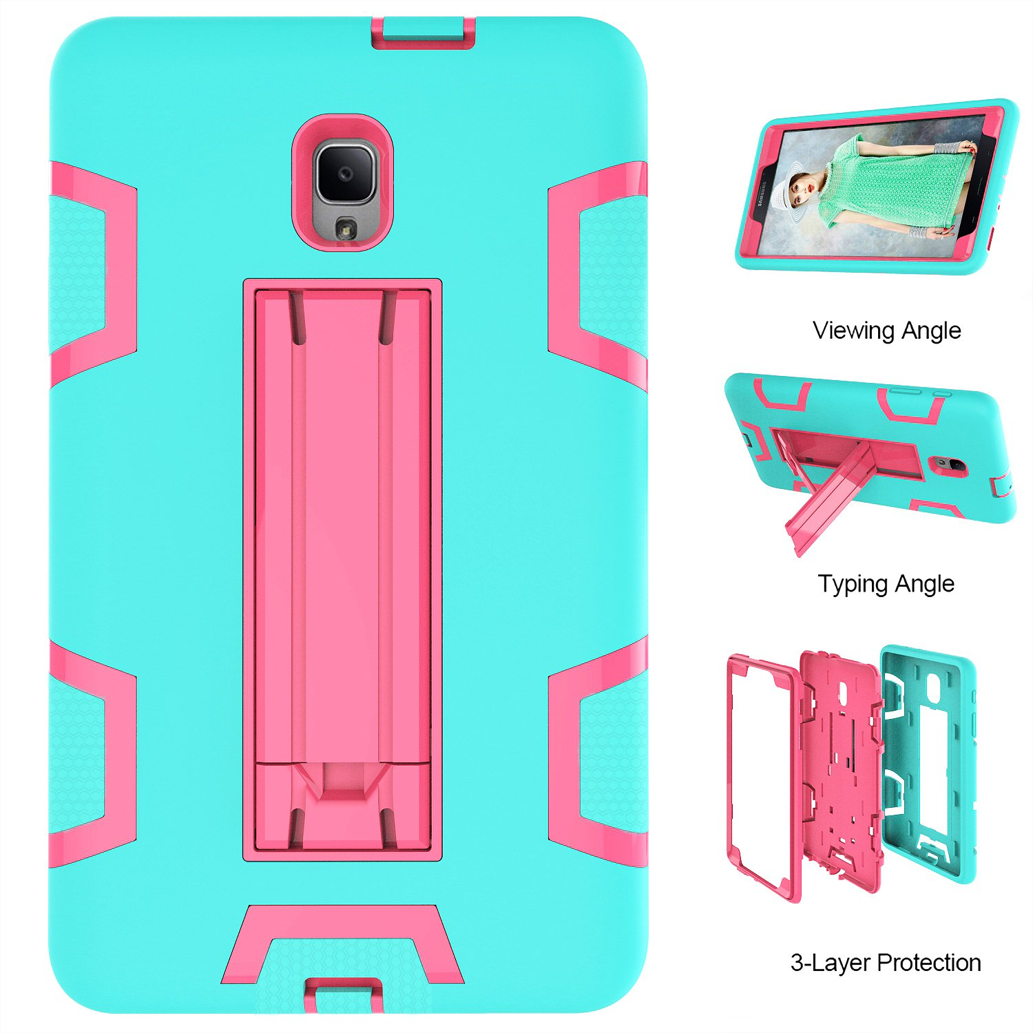 PPSHA Samsung Galaxy Tab A 8.0 2017 Case, High Impact Armor Heavy Duty Hybrid Shockproof Protection Cover Built With Stand for Galaxy Tab A 8.0 (SM-T380/T385) 2017 Release (Teal+Rose) by PPSHA (Image #4)