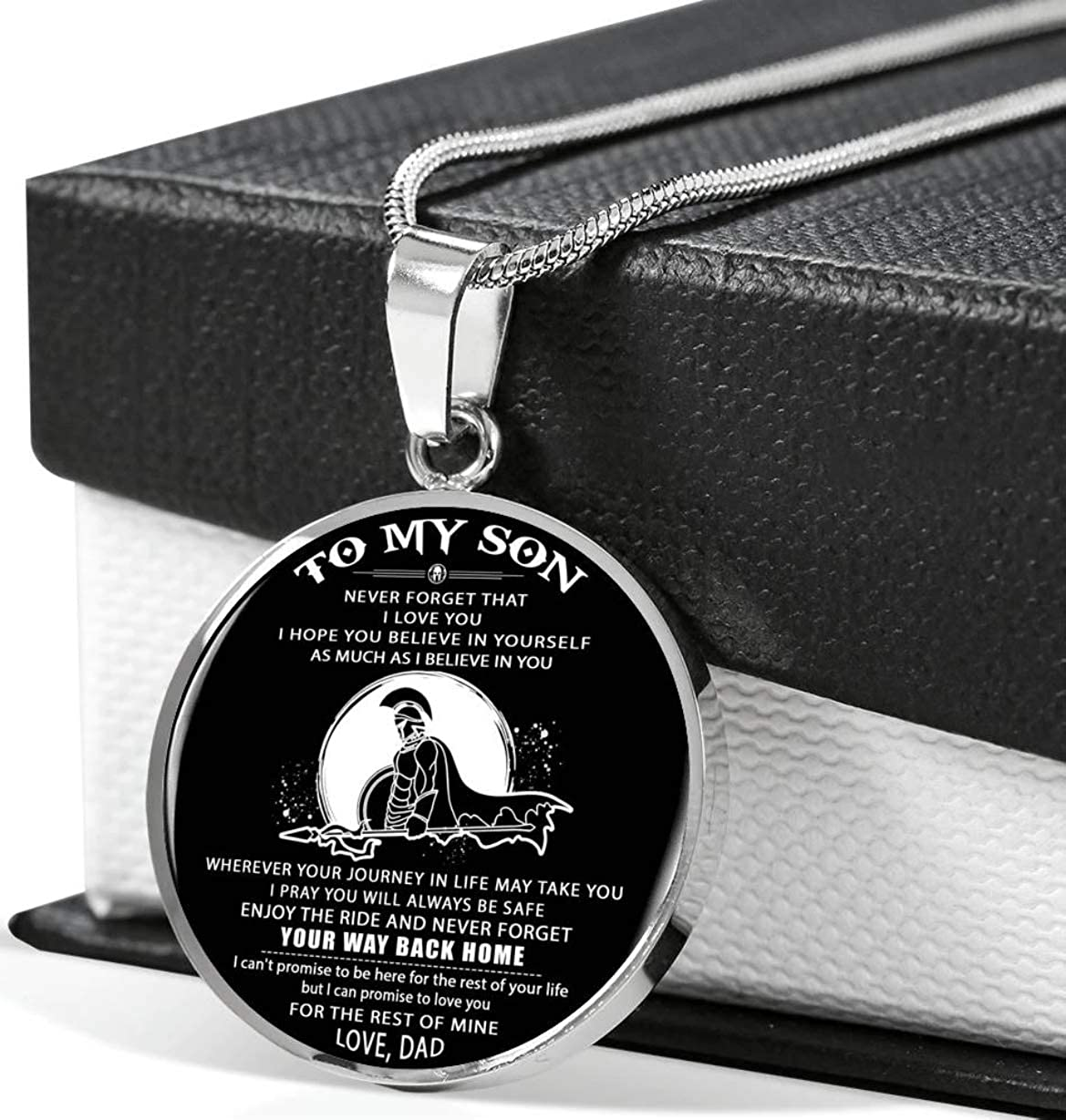 somegifts Spartan Necklace Dad to Son Wherever Your Journey on Life May take You i Pray You Will Alway be Safe Enjoy The Ride and Never Forget Your Way Back Home