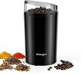 Molinillo de Café Eléctrico, Coziselect Molinillos de Especias Semillas Frutos Secos con Cuchillas de Acero Inoxidable, Capacidad 75 g, 220W, Negro