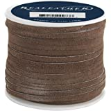 Realeather Crafts Suede Lace, 0.125-Inch Wide 25-Yard Spool, Dark Brown
