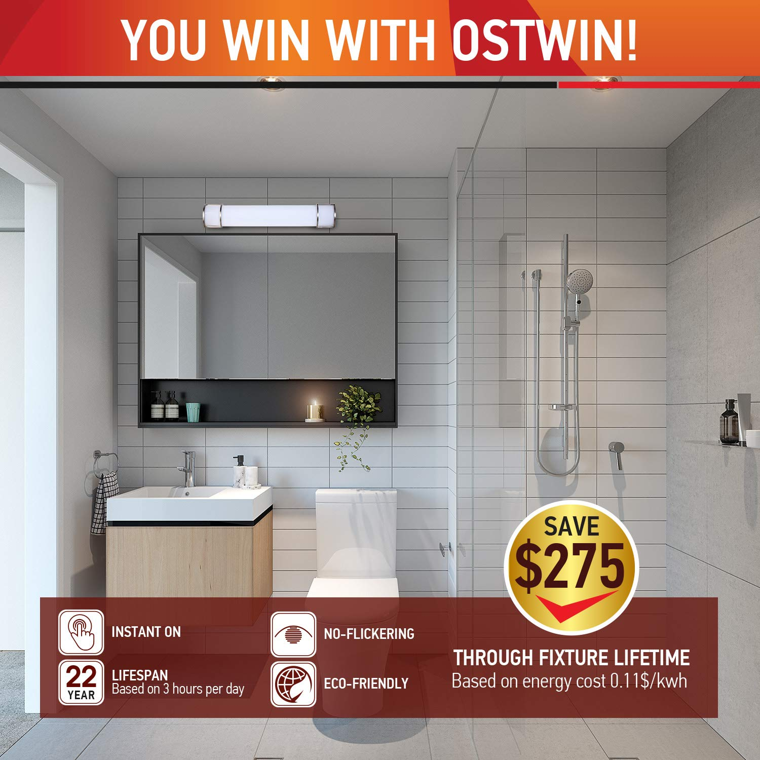 OSTWIN 24 Inch Dimmable LED Linear Bath Vanity Light Bar, Modern Bathroom Vanity Light Fixture 25W 5000K Daylight, Vertical or Horizontal Tube, Brushed Nickel Finish(2 Pack) ETL&Energy Star Listed by OSTWIN (Image #6)