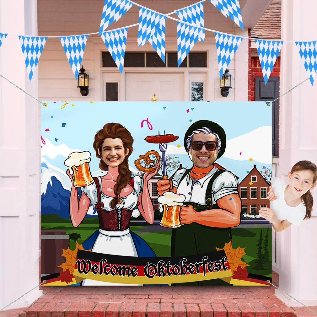 Oktoberfest Party Decorations, Oktoberfest Supplies Oktoberfest Photo Prop Fabric Photo Booth Background Beer Door Banner Oktoberfest Games Supplies for Bavarian Beer Festival, 3 x 4ft