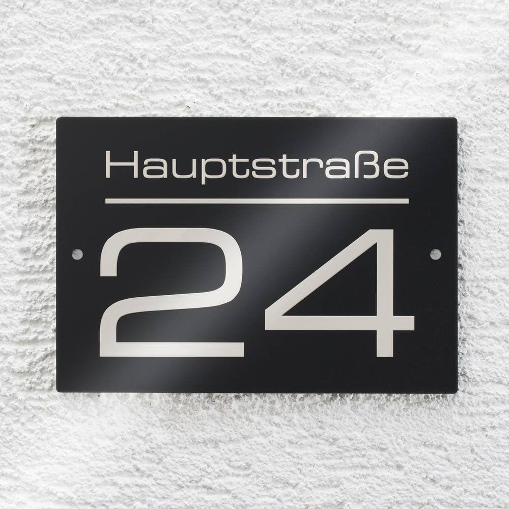 UV-best/ändig Gr/ö/ßen ver Hausnummer Hausnummernschild mit Beschriftung Stra/ßenname//Name und Wunsch-Nummer Edelstahl