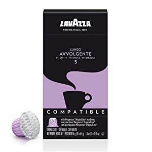 Lavazza Premium Coffee Corp Nespresso OriginalLine Compatible Capsules Avvolgente Espresso Lungo, Dark Roast Coffee, 10 ct
