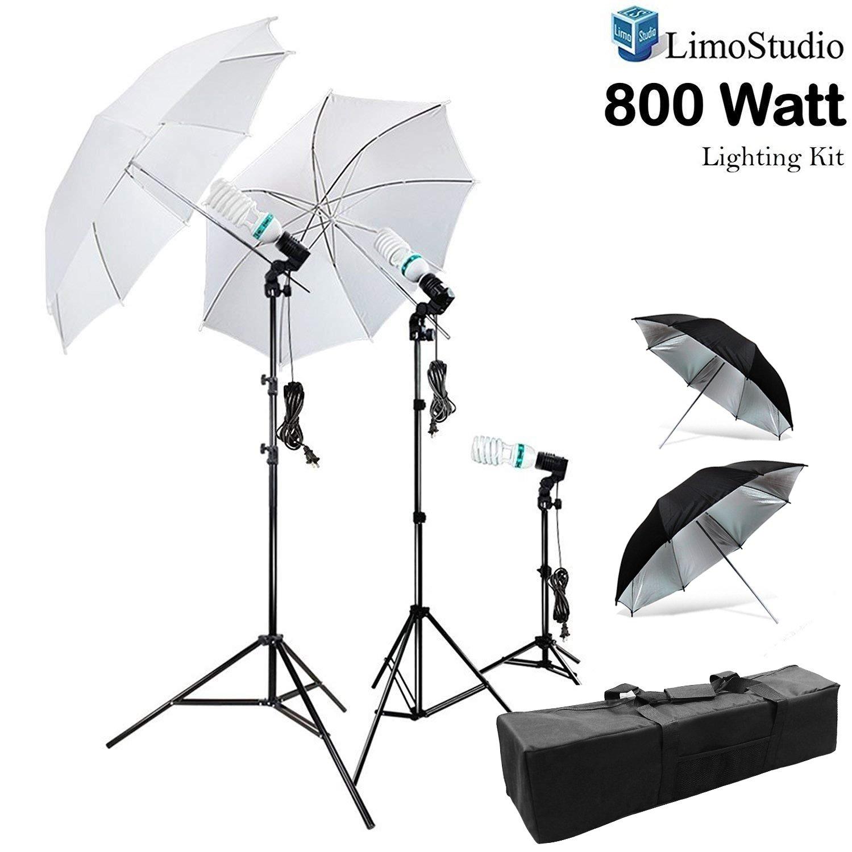 LimoStudio 800W Photography Photo Portrait Studio Umbrella Triple Continuous Lighting Kit - 2 x White Umbrella Lighitng, 1 x Table Top Mini Lighting Kit, AGG1210 by LimoStudio