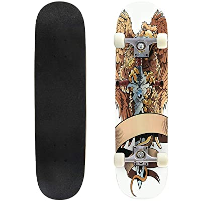 "Cuskip Black Dragon Wings Dark Dragon Stock Illustrations Skateboard Complete Longboard 8 Layers Maple Decks Double Kick Concave Skate Board, Standard Tricks Skateboards Outdoors, 31""x8"" : Sports & Outdoors"