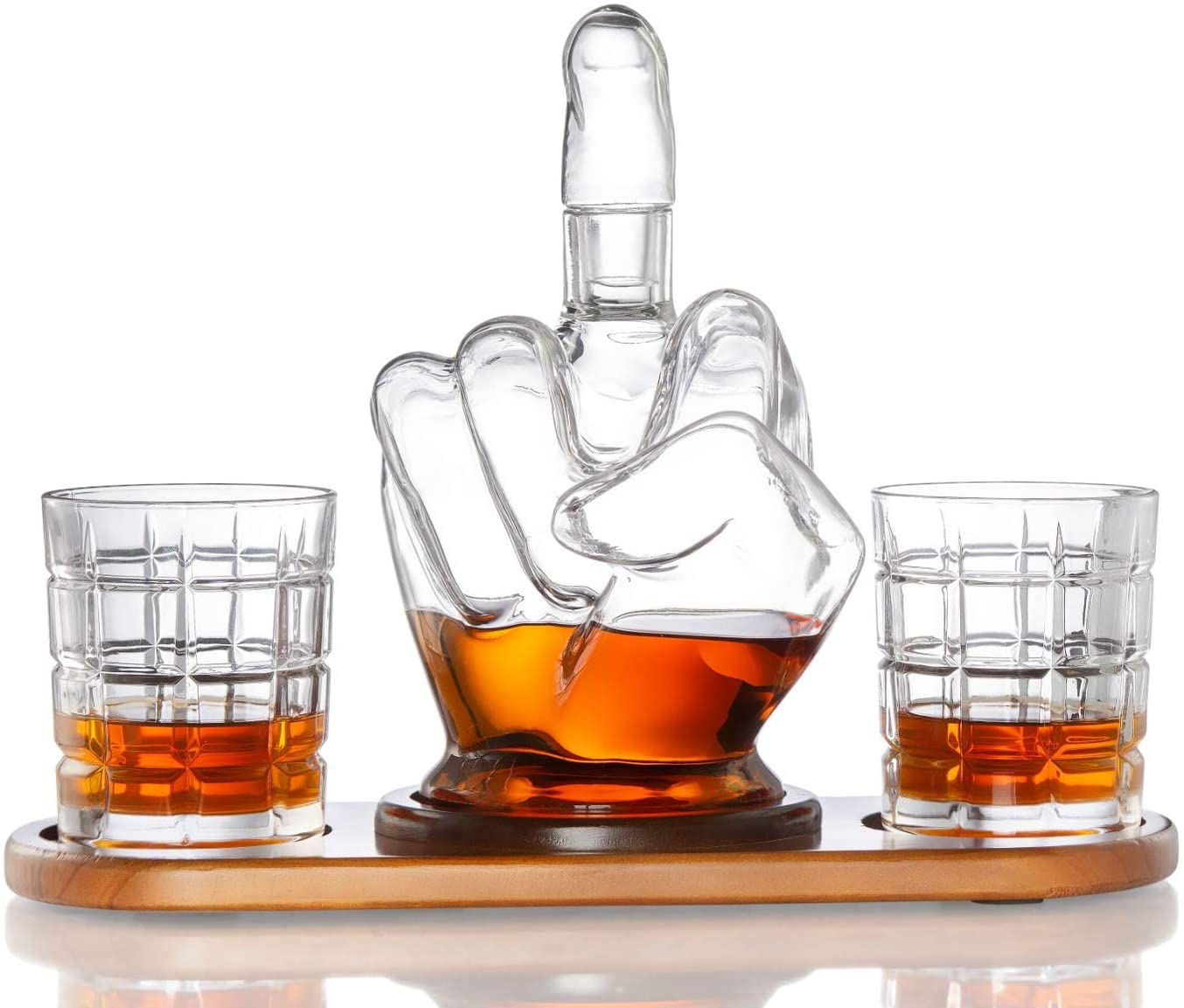 Diamond Decanter Middle Finger Whiskey Decanter Set - Unique & Funny Glass Container for Scotch, Tequila, Brandy, Rum, Bourbon & Other Alcoholic Drinks - Gift Accessories for Men, Dads, Boyfriends