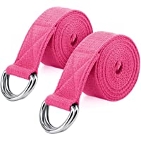 Yoga Strap Belt 6ft [2 Pack], MoKo Stretching Exercise Fitness Bands, Made with Durable Cotton Soft with Metal D-Ring…