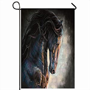 """Ahawoso Outdoor Garden Flags 12""""x18"""" Inch Black Watercolor Painting Frisian Horse Nature Long Mane Oil Canvas Drawing Running Vertical Double Sided Home Decorative House Yard Sign"""