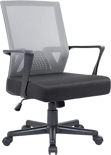 Flamaker Office Chair Mesh Computer Chair Mid Back Swivel Lumbar Support Desk Task Chair Ergonomic Executive Chair