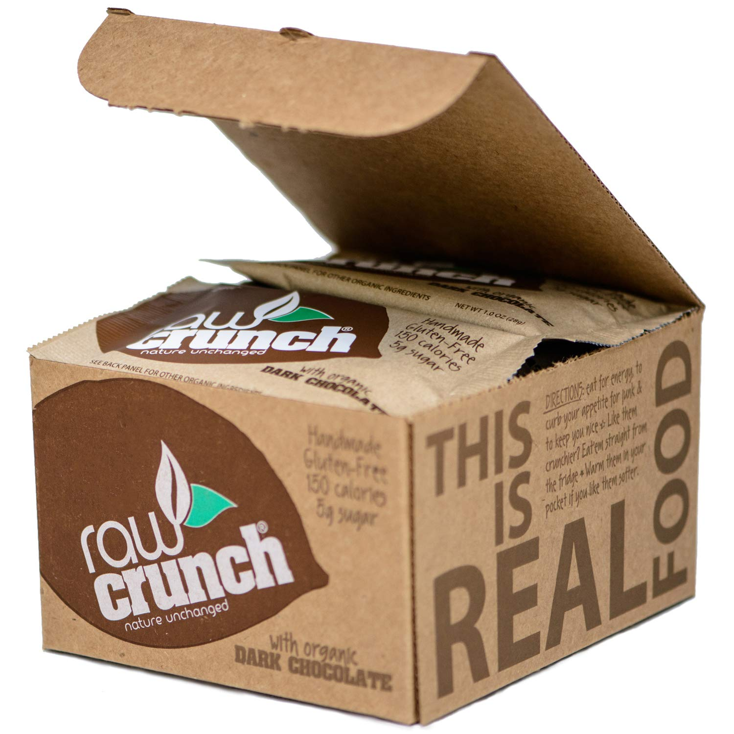 Raw Crunch Bar (Box of 12) - Organic Dark Chocolate - Gluten Free, Dairy Free, Low Carb, Paleo, Plant Based Protein,150 Calorie Real Food Bar