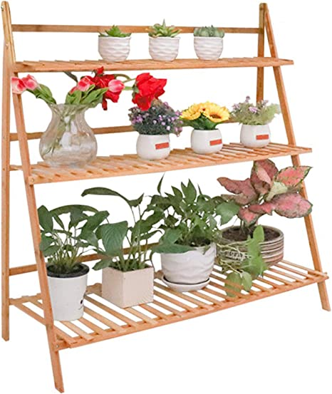 3 Tier Ladder Bamboo Shelf Plant Stand Outdoor Indoor Flower Pots Succulents Small Planters Organizer Home Garden Decors 100cm Length Amazon Ca Patio Lawn Garden