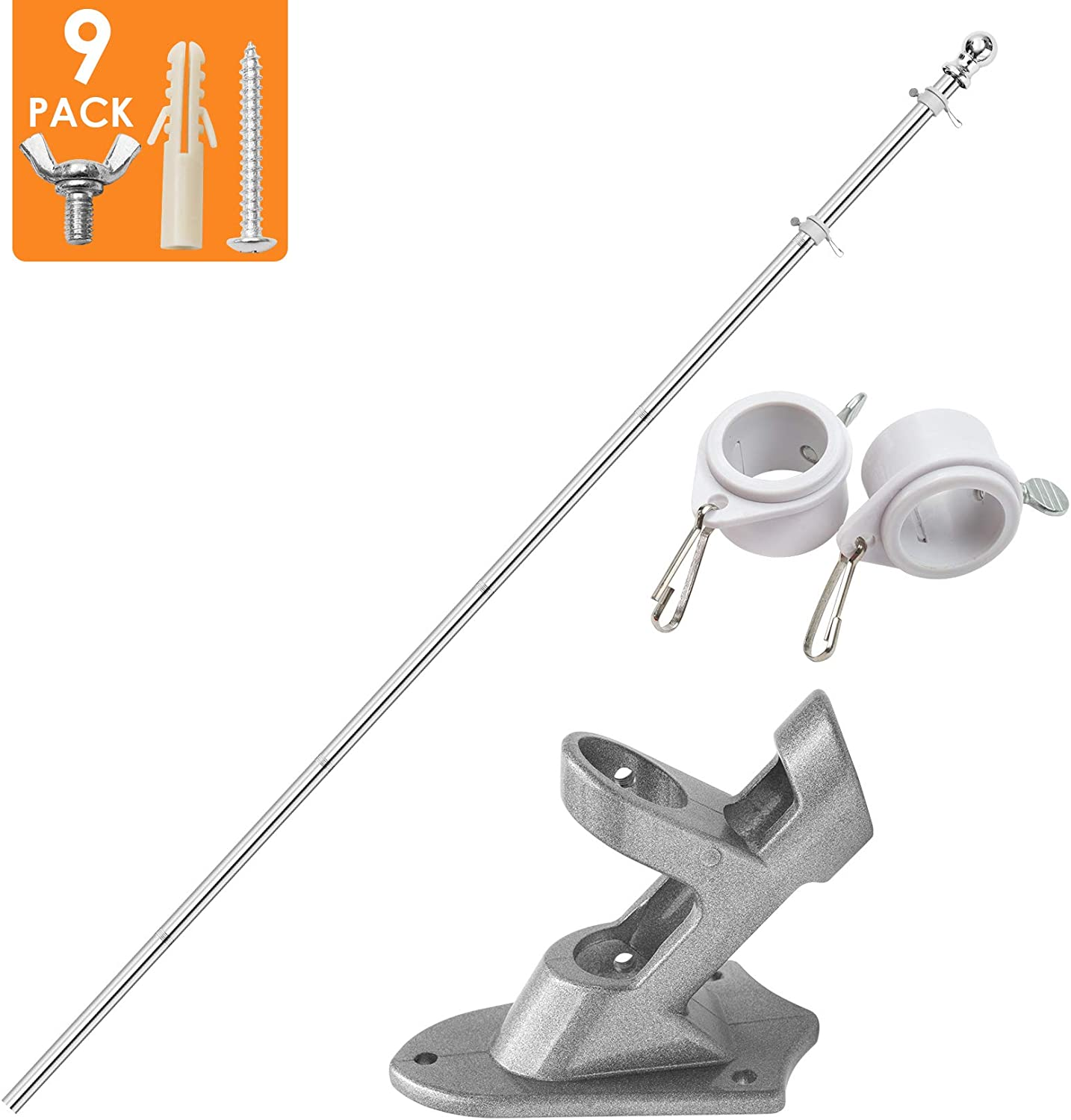 Quarut Flag Pole with Bracket - 6 Ft Flagpole Kit,Outdoor Wall Mounted Professional Stainless Steel Tangle Free Flagpole,Poleapply to for Yard Or Garden Residential Commercial (Silver)