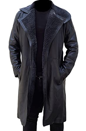 Ryan Gosling Blade Runner 2049 Fur Mens Officer K Black Leather Fur Coat  Jacket  Amazon.co.uk  Clothing 7357ff810a1c