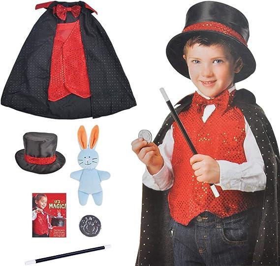 boogift Disfraz Mago niño-Trucos Magia Set Infantil-Disfraz de ...
