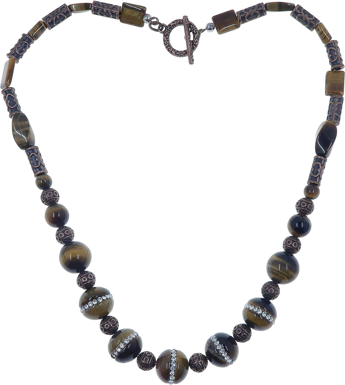 Brown Tiger/'s Eye Delicate Gemstone Silver Necklace Bib Necklace GN202