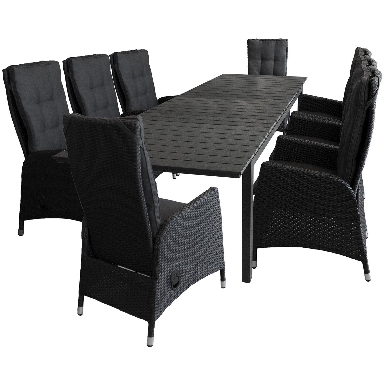 9tlg. Sitzgruppe Sitzgarnitur Ausziehtisch mit Polywood-Tischplatte 220/280x95cm Schwarz 8x Sessel mit Poly-Rattangeflecht stufenlos verstellbare Lehne Schwarz Gartengarnitur