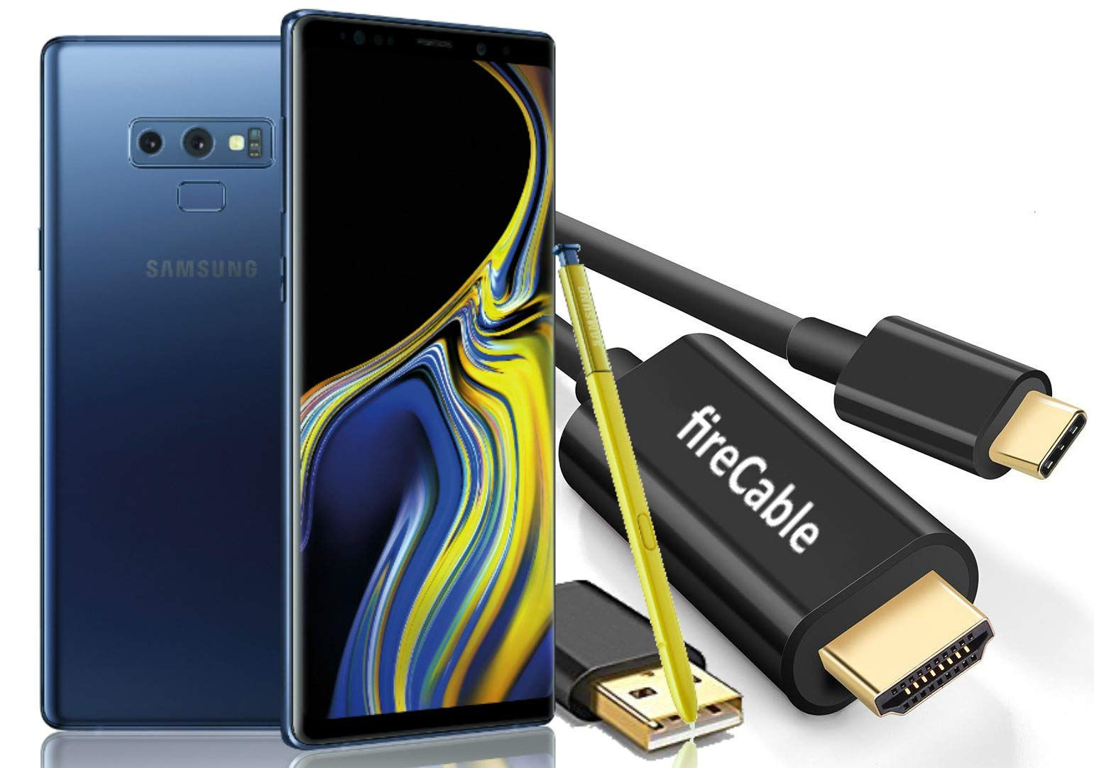fireCable Galaxy Note 9 | Duo - USB C to HDMI Male Cable w/Charge Cord (Connects Your Note9 to Monitor/TV - Activates Full DeX Mode Desktop Experience)