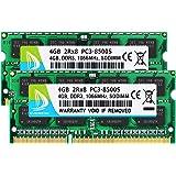 DUOMEIQI 8GB Kit ( 2 X 4GB ) 2RX8 PC3-8500 PC3-8500S DDR3 RAM 8GB 1066MHz SODIMM CL7 204 Pin 1.5v Non-ECC Unbuffered Notebook