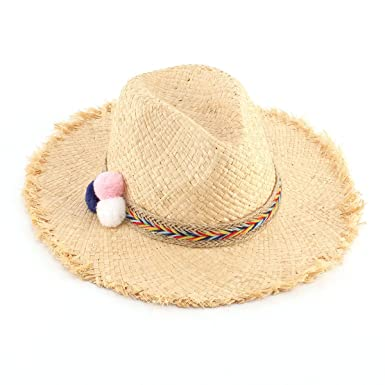 Lady Summer Natural Rafi Grass Retro Straw Hat Famous Wind Hair Ball Sun Hat  09038af4e8e