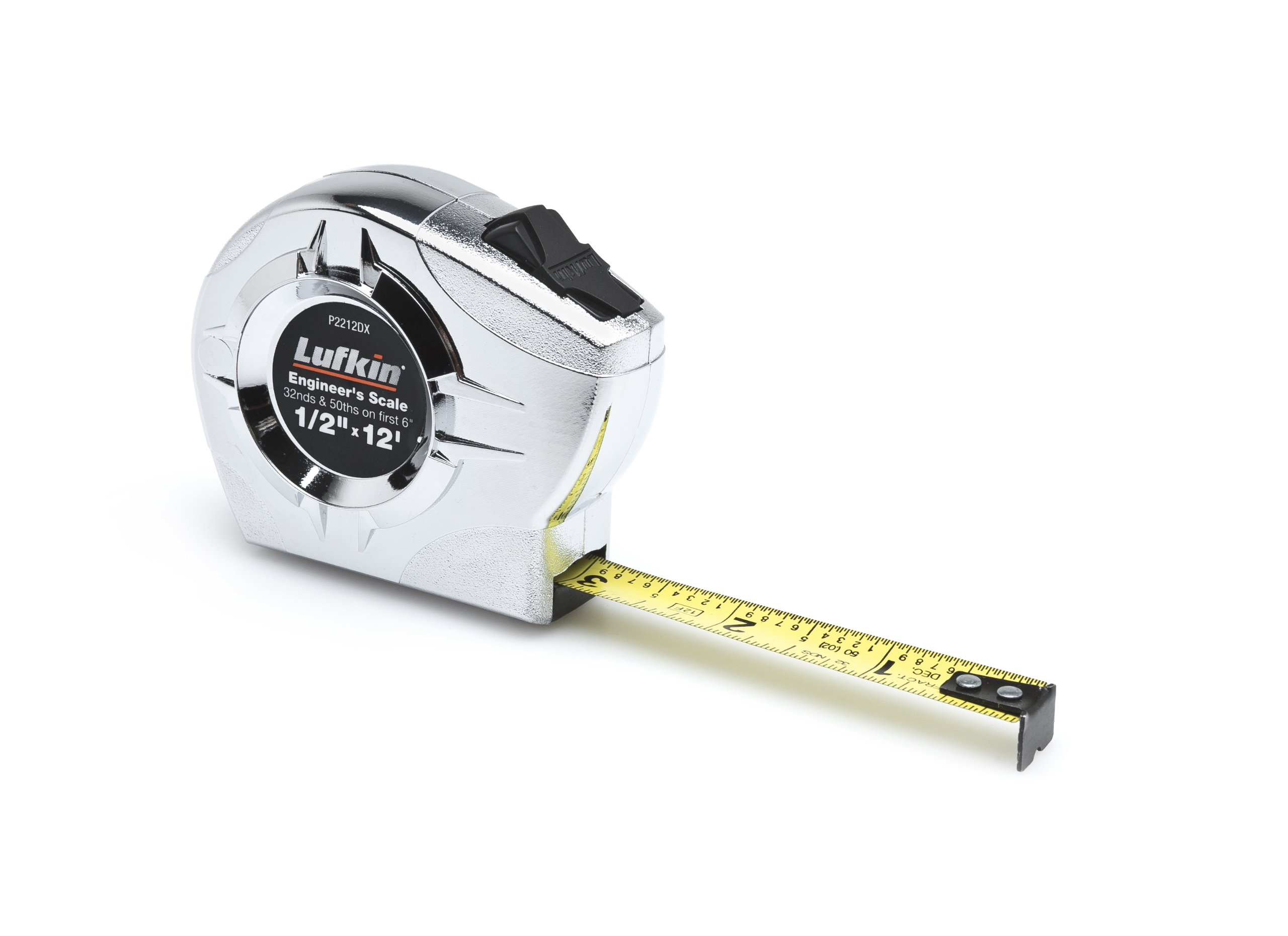Lufkin P2212DX Power Return Engineer's Tape, 1/2-Inch by 12-Feet, Chrome