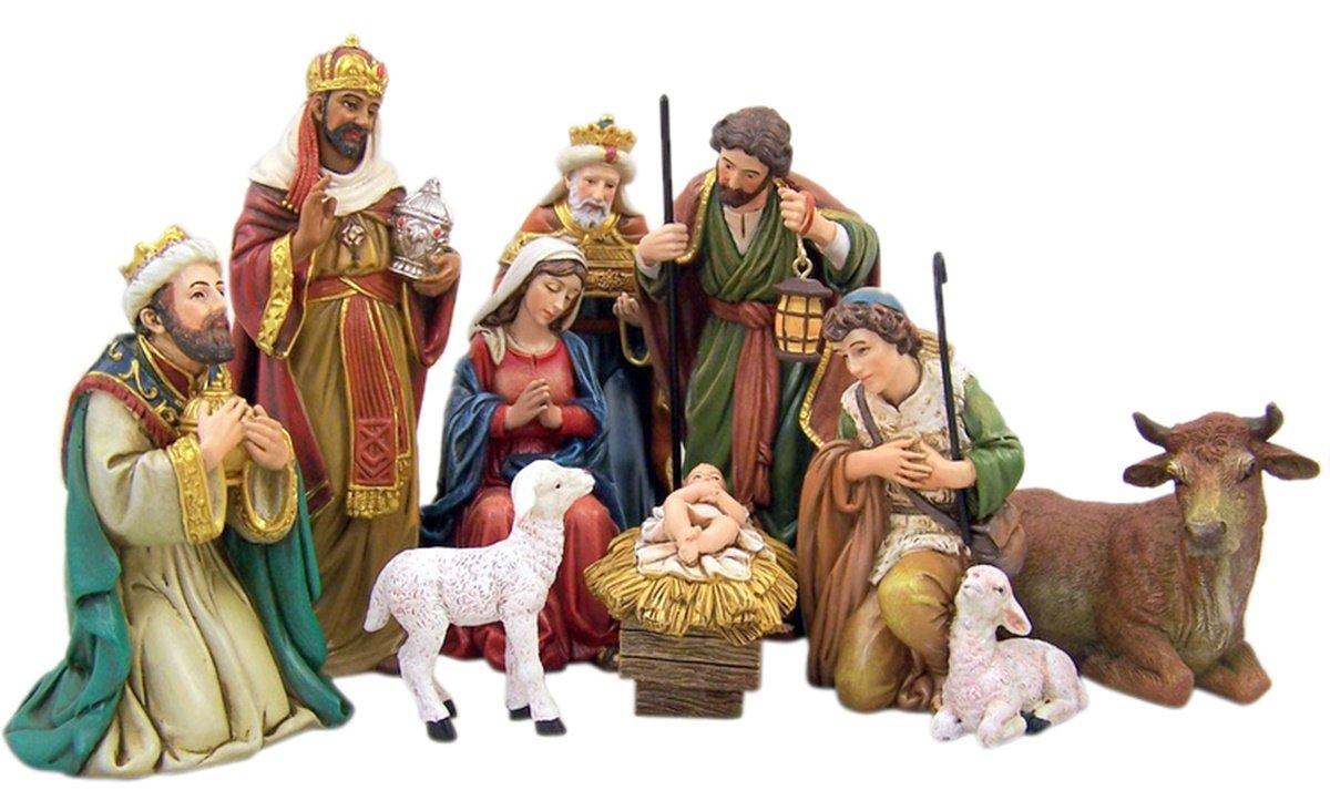 Michael Adams Detailed Resin Christmas Nativity Figurine Statue Set, 5 Inch (9-Piece)
