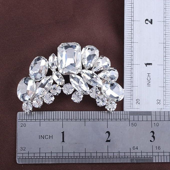 Amazon.com: Tinksky Rhinestone Crystal Flower Zapato Hebilla ...