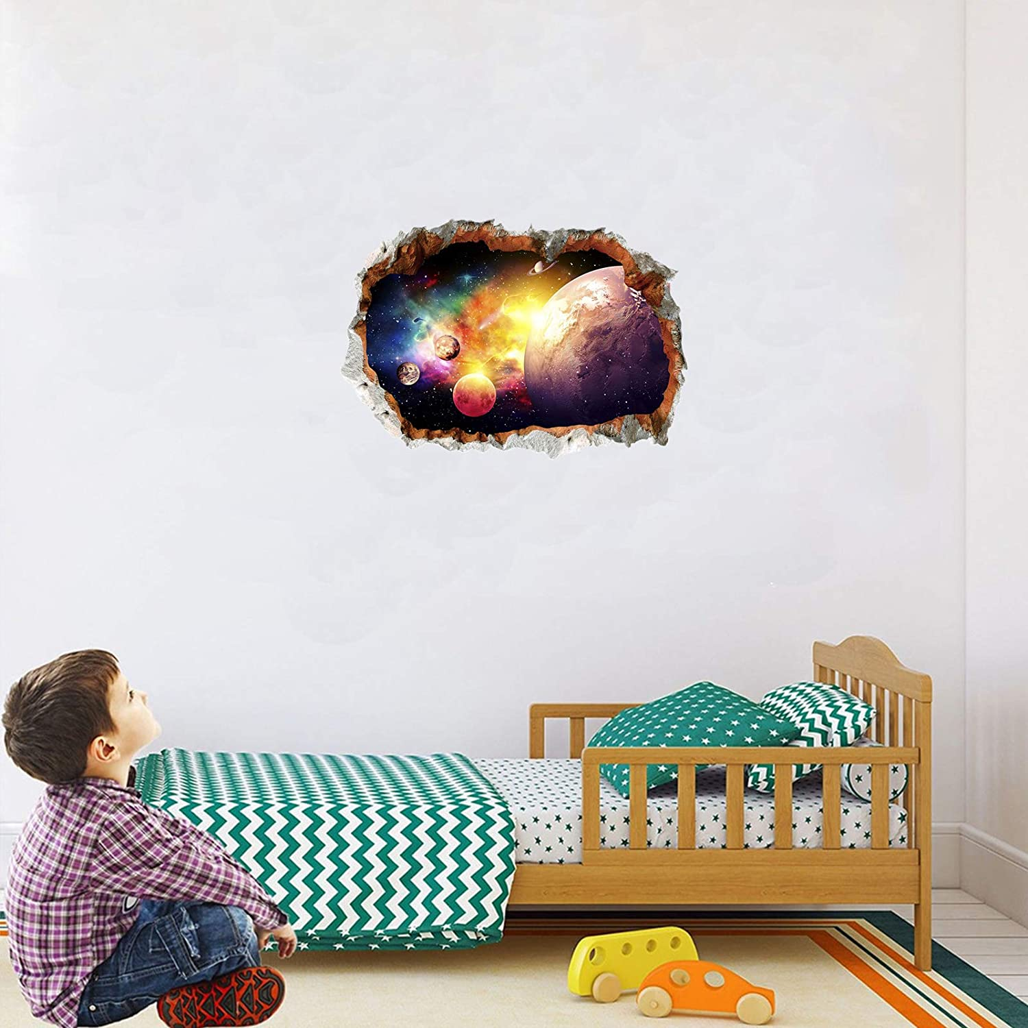 3 Pcs Universe Window Wall Stickers 3D Planet Wall Decals Galaxy Outer Space Star Wall Murals Wall Art Decorative Sticker for Kids Home Living Room Bedroom Nursery Removable Party Decor Decorations