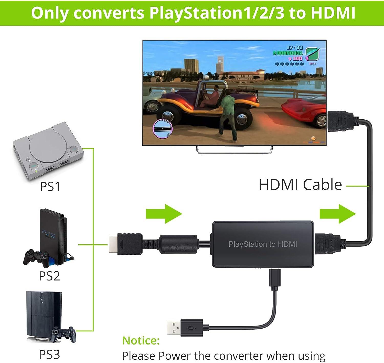 Amazon.com: LiNKFOR - Conversor de PS a HDMI con cable HDMI ...