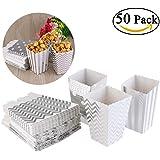 NUOLUX 50pcs Popcorn boîtes jaune Design Trio Miniature festonnée Edge partie carton bonbon conteneur régal Cartons (argent)
