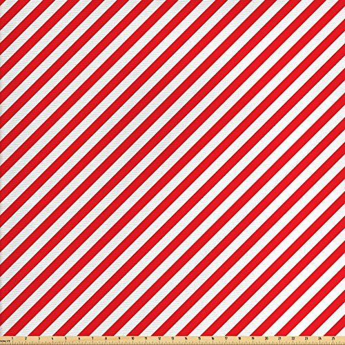 Ambesonne Candy Cane Fabric by The Yard, Diagonal Red Lines Festive Christmas Celebration Themed Geometric Arrangement, Decorative Fabric for Upholstery and Home Accents, Red White - Candy Canes Quilt Fabric