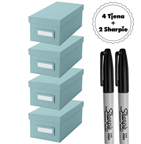IKEA Tjena caja de organización con tapa cajas de [azul] [4 unidades]