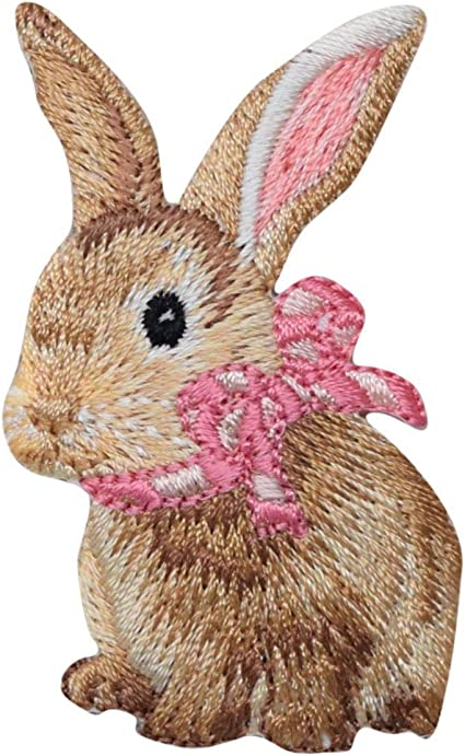Pink Girl Bunny Easter Bunny Applique Patch 3-Pack, Iron on