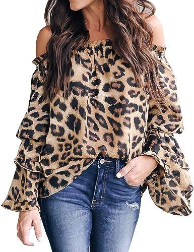 Abrigos de la Mujer, TWBB Mujer Casual Leopardo Impreso Manga Larga Blusa con Hombros Descubiertos Top De La Camisa: Amazon.es: Ropa y accesorios