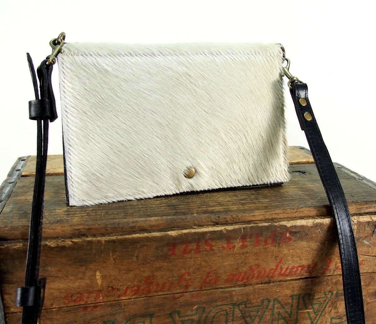 White Leather Cross Body Bag - Fold-over White and Black Cowhide Purse