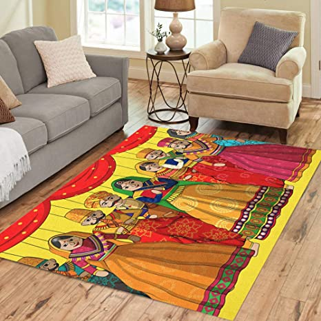 Pinbeam Area Rug Rajasthan Of Colorful Rajasthani Puppet In Indian Jaipur Home Decor Floor Rug 5 X 7 Carpet