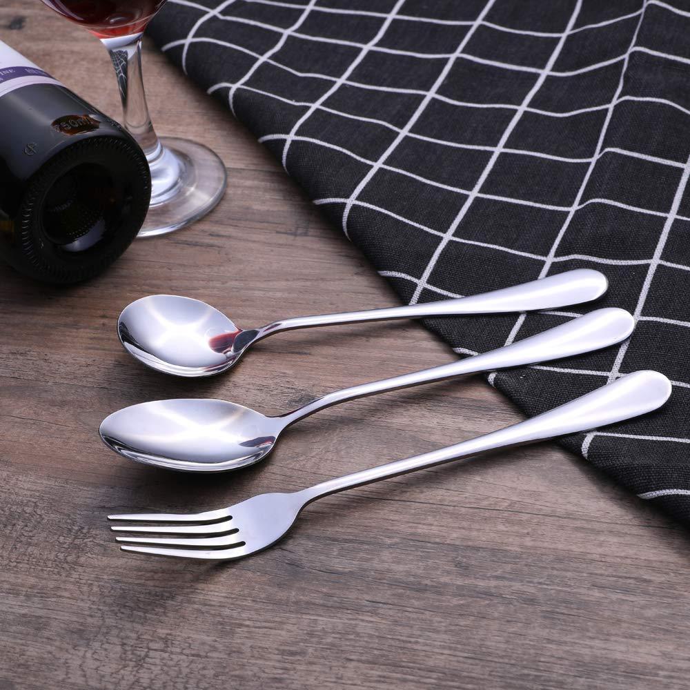 cuchara para cena 6 cucharas 7,4 pulgadas 6 piezas, 1 Juego de 6 cucharas de sopa redondas de acero inoxidable