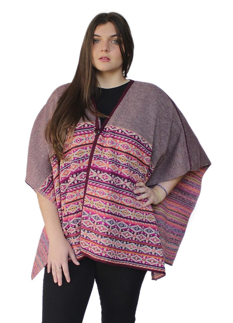 Women's Soft And Warm Superfine 100% Baby Alpaca Wool Handmade V-Neck Knit Knitted Cape Cloak One Size (Plum-Beige-Orange)